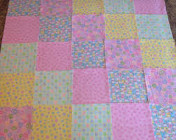 Rag quilt kit 75 squares 3 layers of flannel 8 each & Baby Pink yellow Rag quilt kit 75 squares, 3 layers of flannel 8