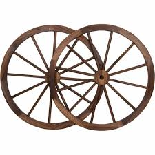 36 in steel rimmed wooden wagon wheels decorative wall decor set of two
