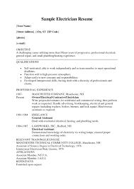 Apprentice Electrician Resume Tomyumtumweb Com