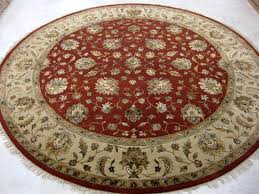wool viscose mix hand knotted round rug