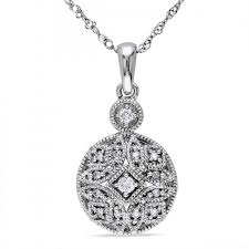 vintage pave set diamond pendant necklace in 14k white gold 0 12ct