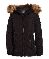 Steve Madden Black Natural Faux Fur Quilted Puffer Coat Women