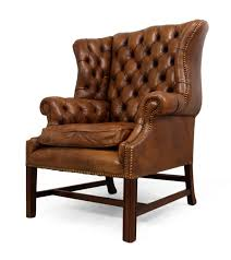 tufted leather wingback chair in brown for elegant home interior