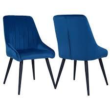 2er Set Esszimmerstuhl Polsterstuhl Stoff Samt Blau Real
