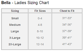 Bella T Shirt Size Chart Isparkle Designs Apparel Options
