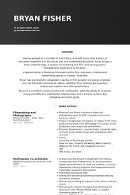 Filmmaking And Photography Resume Example Resume Examples