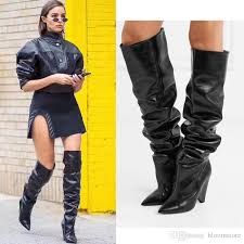 black moroder leather thigh high boots women cone high heels knight boots short long botas dress wedding shoes with original box walking boots ankle boot