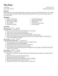 housekeeper hospitality resume templates