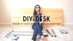 Counter Top Desks Diy Desk Made W Steel Pipes Ikea Countertop Catabot Youtube