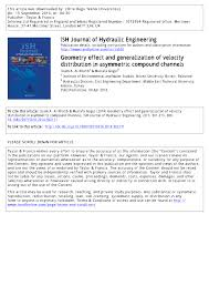 PDF) ISH Journal of Hydraulic Engineering Geometry effect and ...