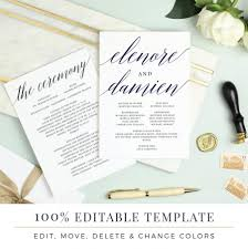 wedding program template printable flat program double sided word or pages mac or pc modern calligraphy instant