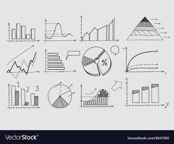 Hand Draw Doodle Elements Chart Graph Concept