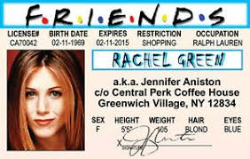 Card Friends Aniston Of Id Drivers Show Jennifer Green License Ebay The Tv Rachel