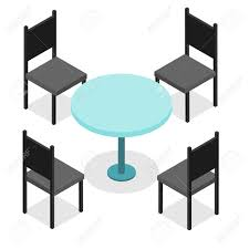 round table and chairs clipart. four black chairs and blue round table. flat isometric. wood products. isolated on table clipart