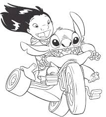 Lilo And Stitch On Bike Coloring