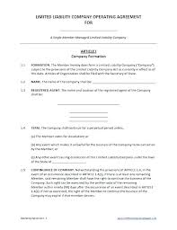 Sample Operating Agreements Company Operating Agreement Sample ...