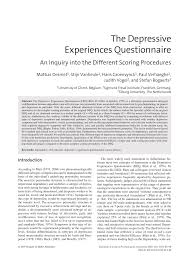 research paper the depressive experiences questionnaire an research paper the depressive experiences questionnaire an inquiry into the different scoring procedures