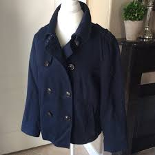 gap jacket women s large mini peacoat blue galaxy navy raincoat trench cotton