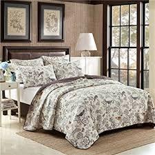 Amazon.com: Newrara Birds Printing Comforter Sets, American ... & Newrara Birds Printing Comforter Sets, American Country Quilt Set/  Bedspread set,Beige , Adamdwight.com