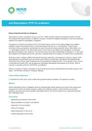 Ib Coordinator Job Description Pyp 2018 2019 Eduvark