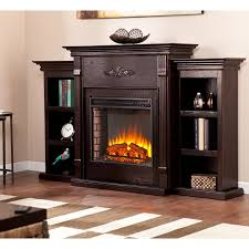 living room modern 70 25 tennyson classic espresso electric fireplace w bookcases of with electric