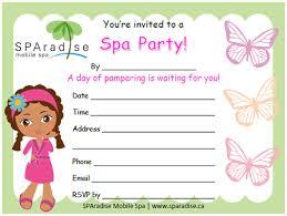 Spa Party Invitations Sparadise Mobile Spa Inc