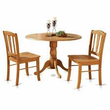 3pc Round Pedestal Drop Leaf Kitchen Table 2 Chairs Pedestal