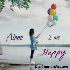 i am alone but happy es i am