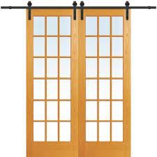 mmi door 60 in x 96 in clear true divided 18 lite unfinished pine double barn door with wood sliding door hardware kit z020186 the