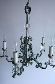 vintage french wrought iron and crystal chandelier