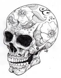 Small Picture Day Of The Dead Skull Coloring Pages Day Of The Dead Coloring