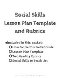 Social Skills Lesson Template With Instructions Rubric And Social Skill List