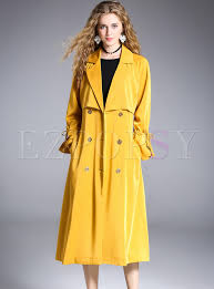 yellow double ted flare sleeve trench coat