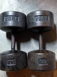york legacy dumbbell set. i need to find a lone 100-lb roundhead -- usa marked or non-usa complete the set. anyone? york legacy dumbbell set e