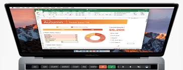 heres what microsoft office looks like on the macbook pros touch microsoft office excel macbook pro touch bar