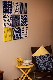 9 pc collage navy yellow wall art