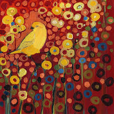 nature painting canary in red by jennifer lommers