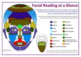 Chinese Medicine Face Reading Chart Facial Reading At A Glance Chart A4 A3 Sizes