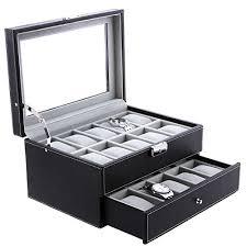 amazon com songmics 20 mens watch box case glass top black amazon com songmics 20 mens watch box case glass top black display organizer lockable ujwb006 home kitchen