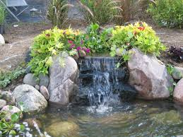Lawn & Garden:Amazing Backyard Ponds Design With Beautiful Double  Waterfalls And Stone Also Pond