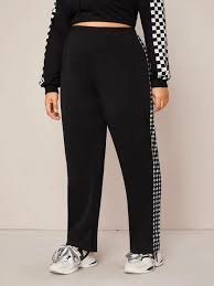 Plus Side Houndstooth Print Elastic Waist Pants