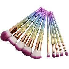 unicorn brush sets. coshine new arriveral 10pcs/set rainbow unicorn shining makeup brush set professional foundation powder cream sets a