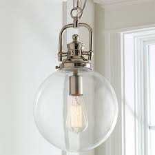 glass pendant shades. Clear Glass Globe Industrial Pendant Polished_nickel Shades P
