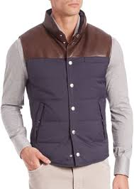 Brunello Cucinelli Brunello Cucinelli Half Leather Quilted Vest ... & Brunello Cucinelli Half Leather Quilted Vest Adamdwight.com