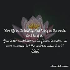 live in the world like a lotus flower in water it lives in water but the water touches it not the book of wisdom osho es
