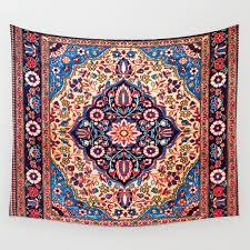 kashan central persian rug print wall