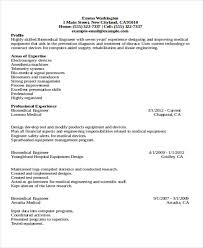 Resume Biomedical Engineering Professional Biomedical Engineering Resume Template 47 Engineering