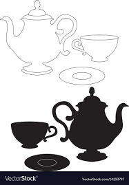 teacup and teapot drawing. Plain Teapot Drawing Of A Kettle Cup And Saucer Vector Image In Teacup And Teapot