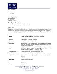 Lease Proposal Letter Impressive Commerical Lease Prposals Submittal Of A Letter Of Intent