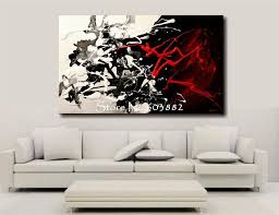 black and white canvas art hand painted large black white and red abstract epic